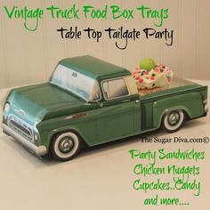 Green Truck Food Box Tray  ★ green pick-ups, other colors too. Maybe - depending on how many kids are attending, we could buy one car for each kid & then they can play with them & also take them home -if they wanted to...