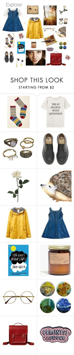 """""""Explorer outfit"""" by claragambirasi ❤ liked on Polyvore featuring Mudd, Dr. Martens, Joules, Madewell, Retrò, Bastien, Punky Pins and Vanessa Mooney"""