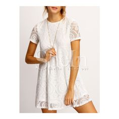 SheIn(sheinside) White Crew Neck Sheer Floral Lace Dress (21 AUD) ❤ liked on Polyvore featuring dresses, short summer dresses, lace sleeve dress, see through dress, white floral dress and short-sleeve dresses