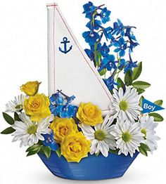Ahoy, It's a Boy! One of the cutest bouquet puns on our website. A perfect gift for an expecting mother or centerpiece at a baby shower. www.bestflowers.com