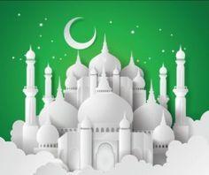 Paper mosque with ramadan kareem background vector 05 - WeLoveSoLo Mubarak Ramadan, Eid Mubarak Greetings, Eid Background, Eid Mubarek, Mosque Vector, Ramadan Poster, Mosque Silhouette, Selamat Hari Raya, Ramadan Kareem Vector