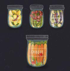 繽紛的罐裝蔬果插圖 | MyDesy 淘靈感