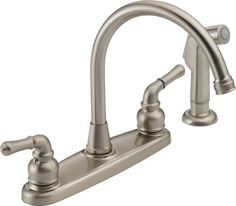 Peerless WAS01XNS Two Handle Kitchen Faucet and Sidespray - Satin Nickel by Peerless, http://www.amazon.com/dp/B006WYT6SK/ref=cm_sw_r_pi_dp_.W93rb0FB27DV