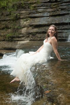 Rock the dress - Cummins Falls, Cookeville, TN. Waterfall trash the dress session, Bridal portrait by Ashley Lodge Photography, Destination Wedding Photographer #ALBrides #AshLodgeAart