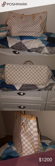 100% Authantic Louis Vuitton NF Damier Azur GM NF GM Excellent  condition canvas is perfect no pantina only used a few  , tiny pen marks inside no smell or rip datecode SD3132 No Wristlet ,Dust bag ,trade please don't ask  posh authanticate over 500                                                                                7.9 inches (Width)  - Redesigned interior with Louis Vuitton archive details -Textile-lined inside pocket - interior -Natural cowhide leather trim - Golden color…