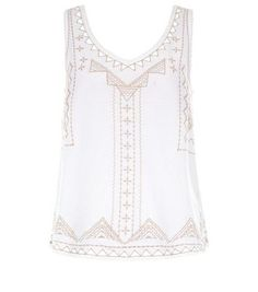 Cream Embroidered V Neck Sleeveless Top
