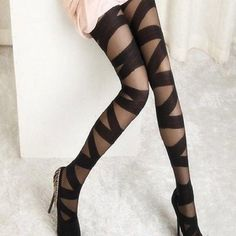 Cross cross ballerina black tights Really cute with a bit of a rough edge to these ballerina style criss cross tights, very versatile in black, run small best fitting size xs Accessories Hosiery & Socks
