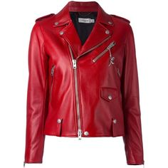 Coach studded detailing biker jacket (£1,085) ❤ liked on Polyvore featuring outerwear, jackets, red, rider jacket, studded motorcycle jacket, red biker jacket, motorcycle jacket and red jacket
