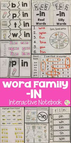This is a Word Family Interactive Notebook to help students practice and learn CVC words and word families. There are 22 different activities for the word family -in to help your students master the word family. You may choose which activities are best for your students. The activities include: - Sort by word family - Word Family Word Search - ABC Order - Roll, Write, Graph - Spin, Write, Graph - Real & Not Real Pockets - Building Words - Highlight then Trace - Color the Pictures