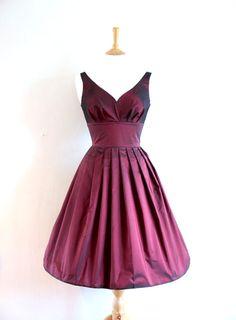 Size UK 6-16  Cranberry Taffeta Prom Dress  Made by digforvictory
