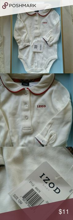 IZOD BABY SNO BODYSUIT, SZ 12 MO., NEW NEW WITH TAGS- 12 MONTHS, IZOD BABY SNO BODYSUIT,  EGGSHELL COLOR, WITH ROUND COLLAR AND RED LINING,  3 IZOD BUTTON DOWN, AND BUTTONS AT SLEEVE. IZOD EMBROIDERY IN RED ON LEFT SIDE. BUTTON SNAP BOTTOM CLOSURE. Izod One Pieces Bodysuits