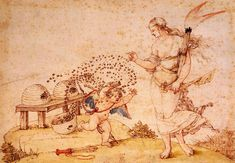 Albrecht Durer, Cupid the Honey Thief, 1514, Pen and Ink Drawing, Kunsthistorisches Museum, Vienna
