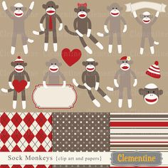 Sock monkey clip art images, sock monkey clipart, sock monkey vector, royalty free clip art- BUY 2 GET 1 FREE. $5.00, via Etsy.