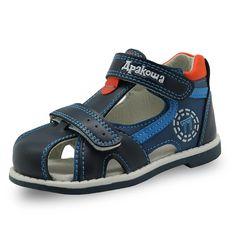 03336e480e405 Apakowa 2017 d été enfants chaussures marques fermées bout garçons sandales  orthopédiques sport pu en cuir bébé garçons sandales chaussures