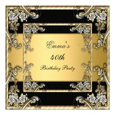 Gold and Black Birthday Party Invitation