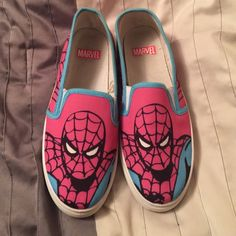 Amazing Spiderman shoes!! Spiderman slip on shoes. Bought from another posher. Say size 10 but fit more like a 9/9.5 so sadly i couldnt fit them. I did wear them once but it became too painful to ever try wearing them again. (Yes the pics represent one day of wear. Probably because they were too small and i wire them anyway)  i love them but again, cant fit them so would love to get them to a good home! Shoes Sneakers