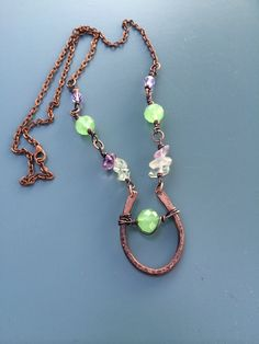 Hammered Rustic Copper Horseshoe Statement Necklace by The Rustic Daisy