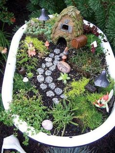 These are fun and easy to make! All you need to do is get a vintage wooden box or drawer (or whatever you want). Next, put a plastic bag on the bottom. Then, put soil in it and then cover it with moss. After that, decorate it how you wish with fairy garden decorations. If you use real plants, you have to water them, which the moss will be fine if you water.