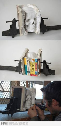 skull sculpture made from books