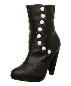 T.U.K  -  Black & White Button Boot