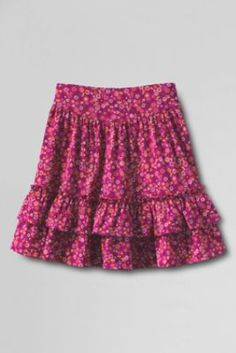 Girls' Full Ruffle Pattern Tiered Skort from Lands' End