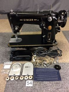 SERVICED WORKS PERFECT VINTAGE 50s SINGER 306K HEAVY DUTY ZIGZAG SEWING MACHINE