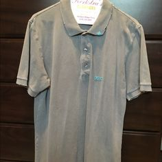 Top Distressed grey men's  polo Project E vintage Tops