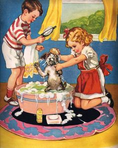 Puppy doesn't like his bath. Vintage Illustration, $10.00