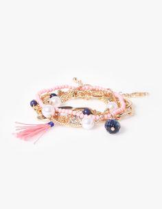 Set 5 pulseras cadena y perlas