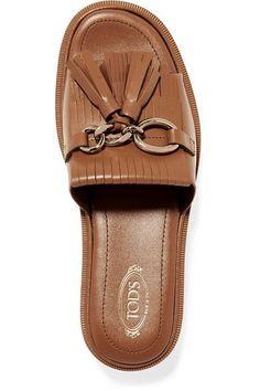 Tod's - Fringed Leather Platform Sandals - Tan