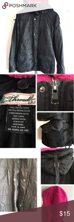 "Warm winter coat 2 spots see pics might come out in wash  2 hoods one removal pink fur hood Jacket is worn but wearable. See wear on zipper (pics)  Missing tie belt  Extra fabric on wrist see pics.  Waist 17"" Length 28"" threads Jackets & Coats Puffers"