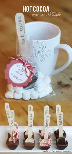 Hot Cocoa on a Stick - tasty gift idea for Christmas and the holidays!