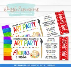 Celebrating an art party or painting birthday party soon? Invite your guests in style with this custom printing art party ticket birthday invitation. This design is characterized by it's multi colors, paint palette and paint brush clipart. It is perfect to celebrate your child, an adult or any type of event!