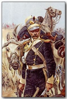 """BRITISH ARMY - Trooper of the 13th Light Dragoons after the Charge. Detail from """"All That Was Left of Them"""" By Richard Caton Woodville"""