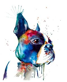 Colorful Boston Terrier Art Print - Print of my Original Watercolor Painting Boston Terrier Love, Boston Terriers, Boston Terrier Kunst, Brindle Boston Terrier, Oil Painting Abstract, Watercolor Paintings, Yorkshire Terrier, English Terrier, Terrier Breeds