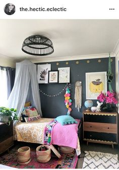Change her hanging light to a cieling flat cover. All grey wall except the back wall. Use bright accents like pom poms, a bright metal bed frame, dark bedding w. Room Interior, Interior Design Living Room, Girls Bedroom, Bedroom Decor, Bedroom Clocks, Bedrooms, Kids Room Design, Room Kids, Little Girl Rooms