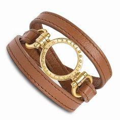 NEW NIKKI LISSONI BROWN LEATHER SMALL GOLD TONE COIN HOLDER WRAP BRACELET 24g #NikkiLissoni #LeatherBracelet