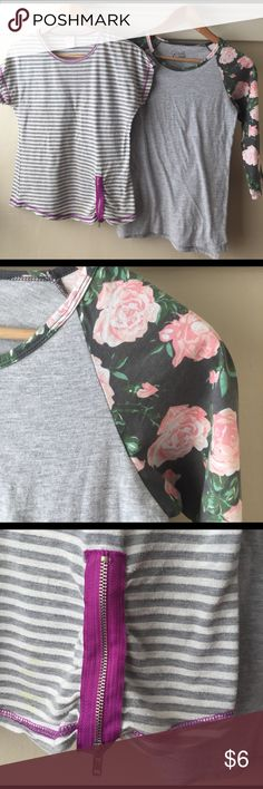 Teen/Tween Floral Sleeve Baseball Tee NWOT NWOT Cold Crush baseball 3/4 sleeve tee with gray body and floral sleeves, never washed or worn, 60/40 cotton/poly blend. Women's size S, purchased from teen catalog Delia's. Xhilaration Shirts & Tops Tees - Short Sleeve