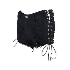 Distressed Lace Up Black High Waist Shorts ($33) ❤ liked on Polyvore featuring shorts, black, torn shorts, high waisted ripped shorts, high-rise shorts, print shorts and high waisted zipper shorts