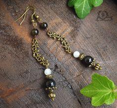 Boucles Obsidienne oeil céleste, Labradorite blanche, Obsidienne dorée, métal bronze: ᘛ Épopée victorienne ᘚ : Boucles d'oreille par atelier-bijoux-legendaires