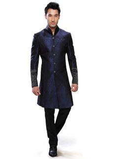 Regal Blue Art Silk Sherwani : Cbazaar - not a huge fan, but has a good look Mens Indian Wear, Mens Ethnic Wear, Indian Groom Wear, Indian Man, Indian Style, Groomsmen Outfits, Groom Outfit, Kurta Designs, Best Wedding Suits