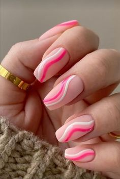 Cute Gel Nails, Soft Nails, Funky Nails, Pink Tip Nails, Cute Pink Nails, Pink Nail Art, Short Pink Nails, Pink Summer Nails, Acrylic Nails Coffin Short