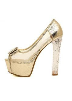 Brilliant Patchwork Design Bow Decoration Platform Pumps Gold on sale only US$20.43 now, buy cheap Brilliant Patchwork Design Bow Decoration Platform Pumps Gold at martofchina.com