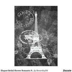 Elegant Bridal Shower Romantic Paris Black 5x7 Paper Invitation Card