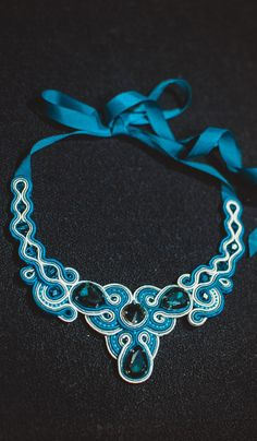 Soutache necklace in celadon color by CeladonJewerly on Etsy