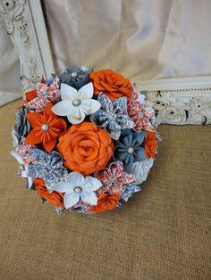 Fall Rose Paper Flower Bridal Bouquet Wedding  von PoshStudios