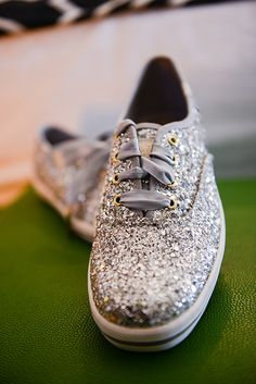 Rock your way down the aisle in these glitter tennis shoes