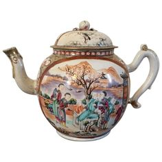 Very Large Antique century Chinese Export Porcelain Famille Rose Palace Ware Tea Punch Pot in the Rockefeller Pattern Antique China, Vintage China, Vintage Teapots, Tea Cup Saucer, Tea Cups, Chinese Tea Room, Asian Teapots, Teapots And Cups, Chinoiserie