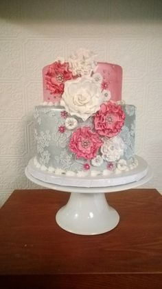 Silver And Pink Ruffles And Lace