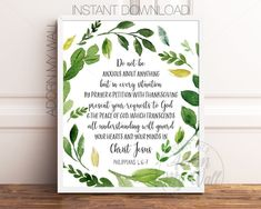 Do Not Be Anxious About Anything, Philippians 4:6-7, Bible Verse Print, Scripture Wall Art, Christian Quote Print, Bible Wall Art, Printable Nurse Appreciation Gifts, Nurse Gifts, Employee Appreciation, Home Design, Thank You Nurses, Goodbye Gifts, Gifts For Colleagues, Leaving Gifts, Going Away Gifts